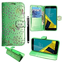 Huawei Y6 Case, Kamal Star® Rose Green Diamond Book Premium PU Leather Magnetic Case Cover + Stylus
