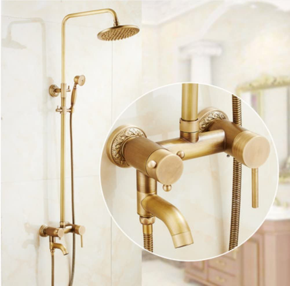 R&Y Grifo de Ducha Vintage Bathroom Luxury Rain Mixer Shower Combo ...