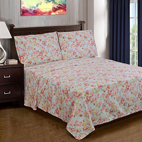 Superior 300 Thread Count Cotton Bellflower Print Sheet Set Queen Light Blue (Cotton Bed Sheet Print)