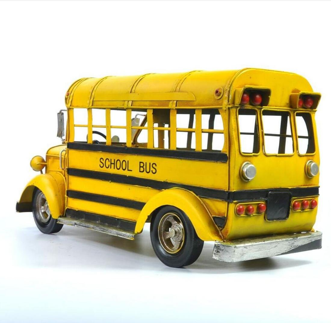 GL&G Manual Retro Iron art school bus Bus model festival gift Home Decorations metal Crafts Window display Tabletop Scenes Ornaments Collectible Vehicles,411719cm