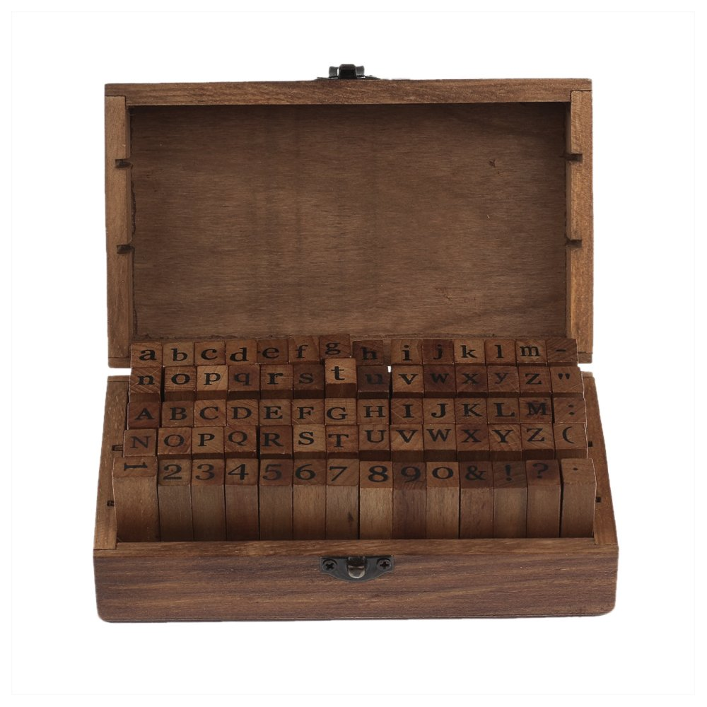 70pcs Alphabet Stamps Vintage Wooden Box Rubber Letter and Number Stamp Diary Stamper Seal Set for DIY Craft Card Making Happy Planner Scrapbooking Supplies