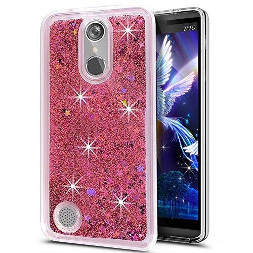 LG K10 Case 2017,LG K10 2017 Case Silicone,LG K10 2017 / LG K20 V / LG K20 Plus / LG LV5 Case Glitter Transparent Slicone TPU Liquid Cover,EMAXELERS LG K10 2017 Case Bling Glitter Stars Flowing Liquid Star TPU 4