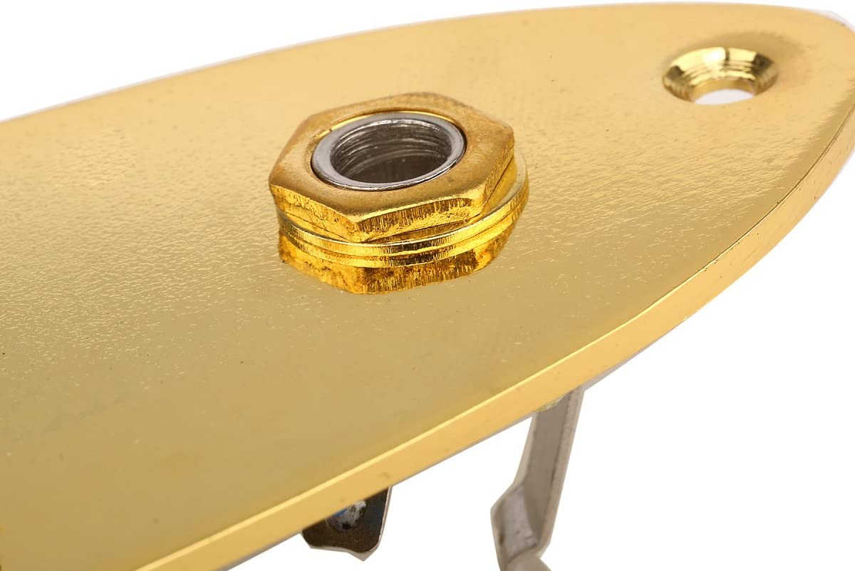 Musiclily Loaded Prewired Jazz Bass Control Plate for J Bass Style Guitar,Gold