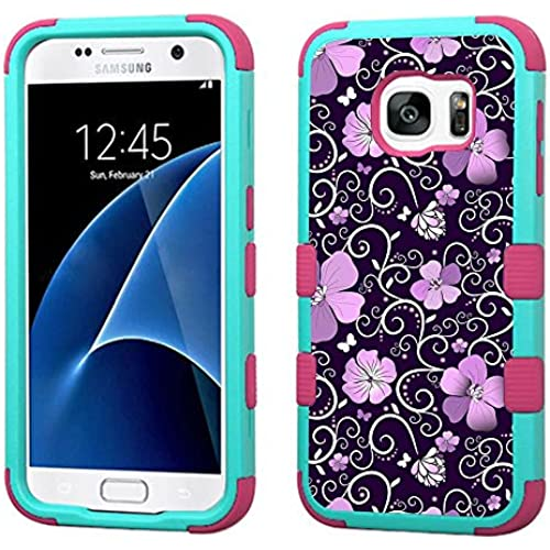 For Samsung Galaxy S7 G930 Case 3-Layer Armor Hybrid Rugged Silicone Phone Cover FancyGuard (Purple Vine/Pink) Sales