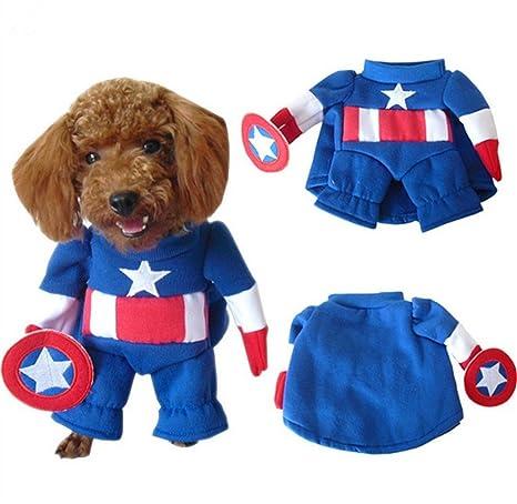 NACOCO (TM Disfraz de Capitán América para Mascotas, Ropa de ...