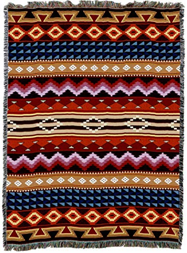 - Pure Country Weavers | Yuma Blanket | Woven Throw with Fringe Cotton USA 72x54