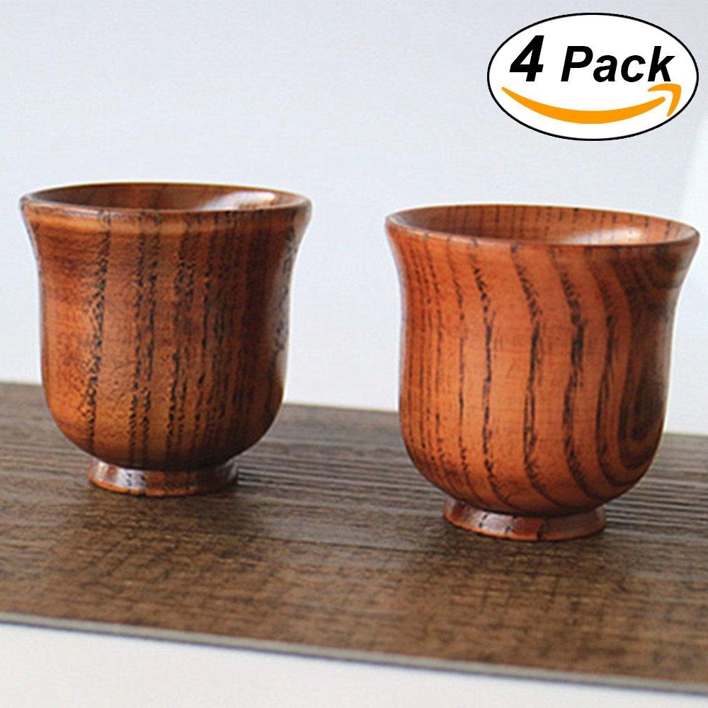 4 PCS Handmade Wood Mini Japanese Teacups Cool Tiny Mugs Set for Tea Set- 2.7 OZ Tea Cups