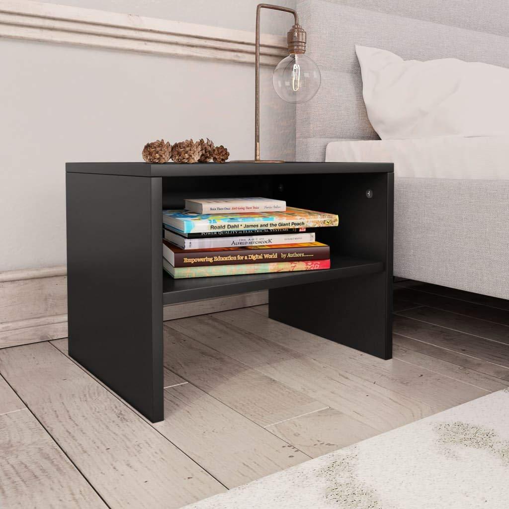 vidaXL Table de Chevet Table de Canap/é Table de Nuit avec Un Compartiment Ouvert Salon Chambre /à Coucher Noir 40x30 x30 cm Agglom/ér/é