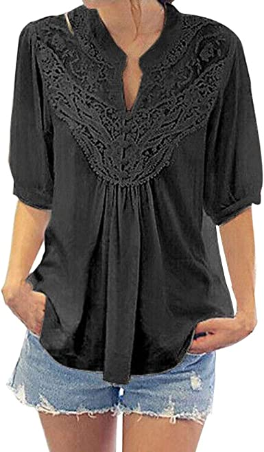 UK Women V Neck Lace Pleated Top Casual Loose 3//4 Sleeve Holiday Blouse T-Shirt