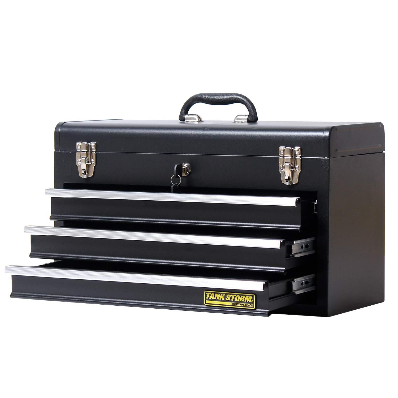 TANKSTORM Portable Steel Tool Box with Drawers,20'' 3-Drawer Box Storage Organizer Cabinet Metal Toolbox,Black(X3)