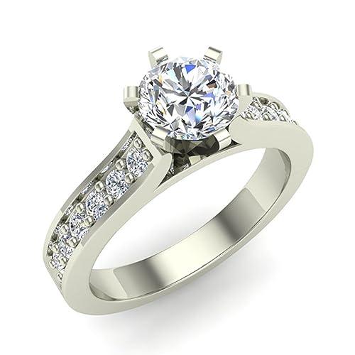 3/4 ct tw Round Brilliant Accented Diamond Engagement Ring 14K Gold (G,I1) Premium Quality