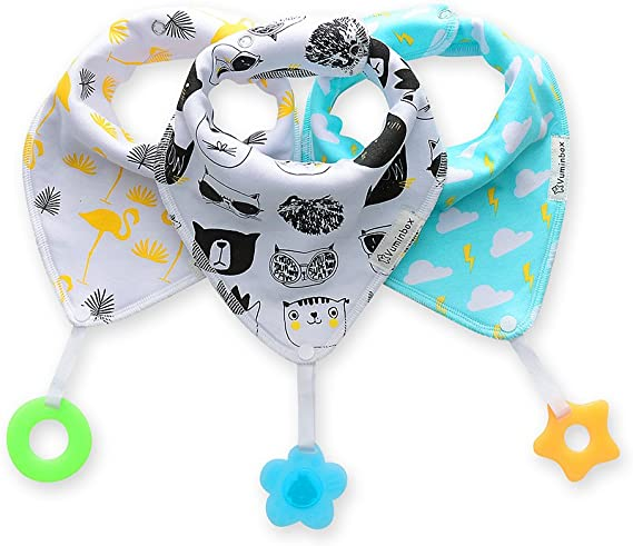 Baby Bandana Drool Bibs 3-Pack and Teething Toys 3-Pack Made with 100% Organic Cotton