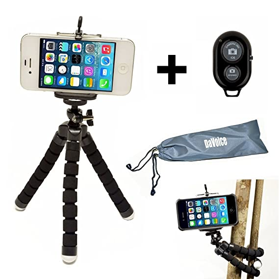 Flexible iPhone Tripod for Smartphone with Bluetooth Remote Control  Compatible with iPhone X XS XR 8 7 6S 6 SE Galaxy S9 S8 S7 S6 Mini Cell  Phone