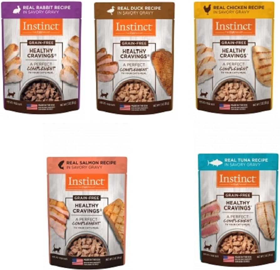 Nature's Variety Instinct Healthy Cravings Grain-Free Meal Topper for Cats Variety Pack, 5 Flavors (2 of Each - Chicken, Duck, Rabbit, Salmon and Tuna), 3 oz Pouch, 10 Total Pouches