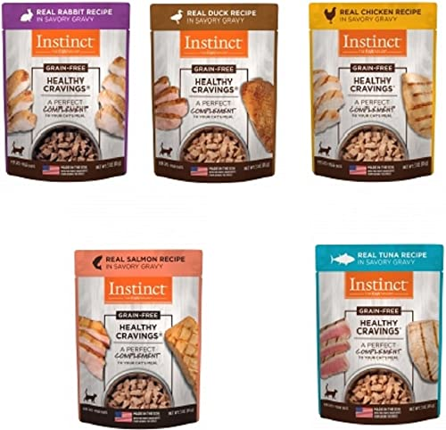 Nature s Variety Instinct Healthy Cravings Grain-Free Meal Topper for Cats Variety Pack, 5 Flavors 2 of Each – Chicken, Duck, Rabbit, Salmon and Tuna , 3 oz Pouch, 10 Total Pouches