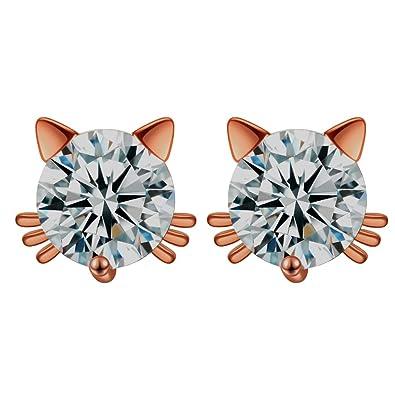 521e2fde9 Amazon.com: Tabwing Birthday Gift 18k Gold Plated Austrian Crystal Zircon  Mini Cute Cat Stud Earrings (5mm Cat Rose Gold 1 Pairs): Jewelry