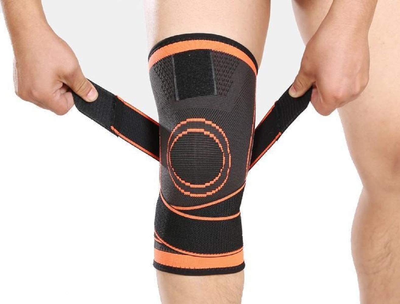 Compression Knee Sleeve Knee Brace for Men & Women Knee Support for Running, ACF Crossfit, Basketball, Pain Relief, Meniscus Tear Arthritis ACL MCL Faster Recovery Adjustable Strap Single Wrap