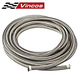 """20 Ft 6AN AN6 (3/8"""") Universal Braided Stainless Steel CPE Oil Fuel Gas Line Hose"""