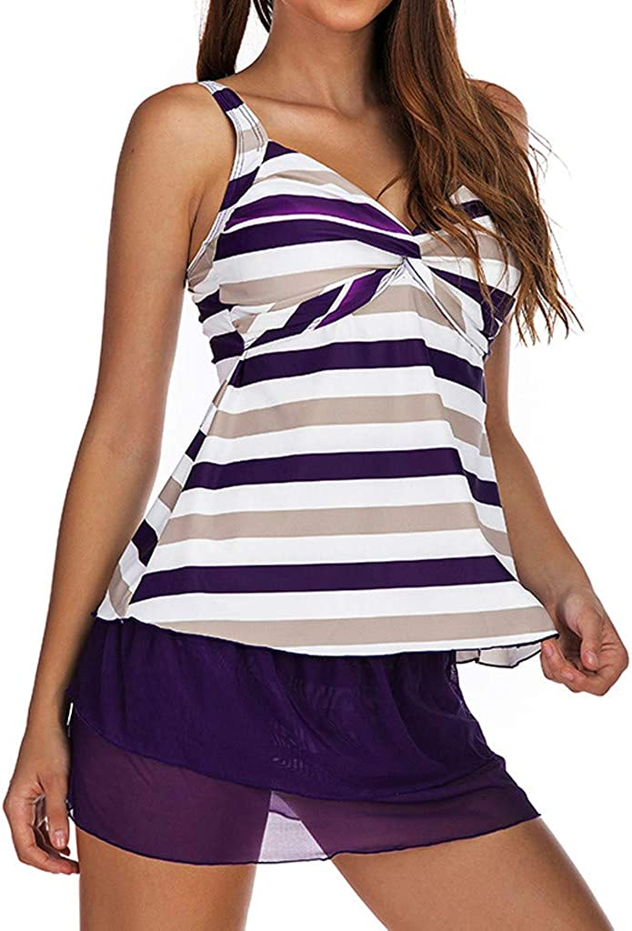 NOMUSING Plus Size Women 2 Piece Tummy Control Tankini Swimdress Retro Print Skirt Boyshort Bathing Suit Print Swimsuit