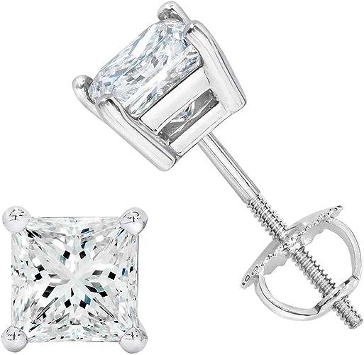 1.00CT Princess Cut Genuine G//VS2 Diamonds 14K Solid Yellow Gold Stud Earrings