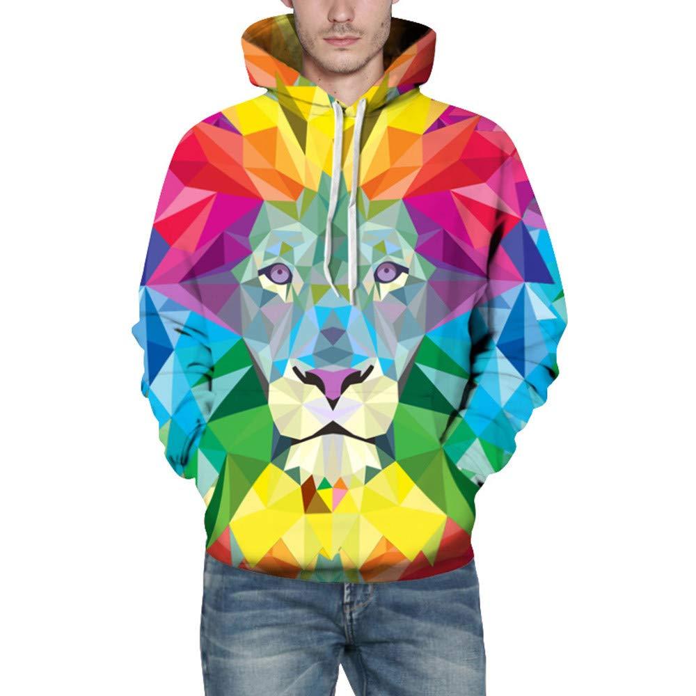 Sweatshirt CIELLTE Homme 2018 Mode Pull Hoodies Sportif Automne Hiver 3D Imprimé Lion Chat Manches Longues Multicolore Impression Tee Stylé Fashion,Cool