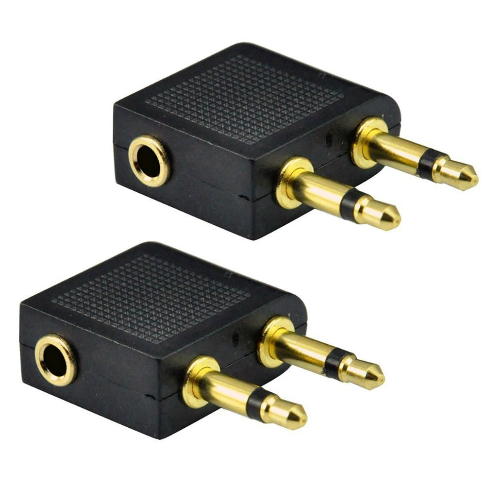 AKOAK 2 x Standard 3.5mm Golden Plated Airline Airplane Flight Headphone Adapters