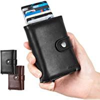 LUNGEAR Credit Card Holder Minimalist Card Wallet with Banknote Storage Exterior Leather Up to Hold 12 Cards