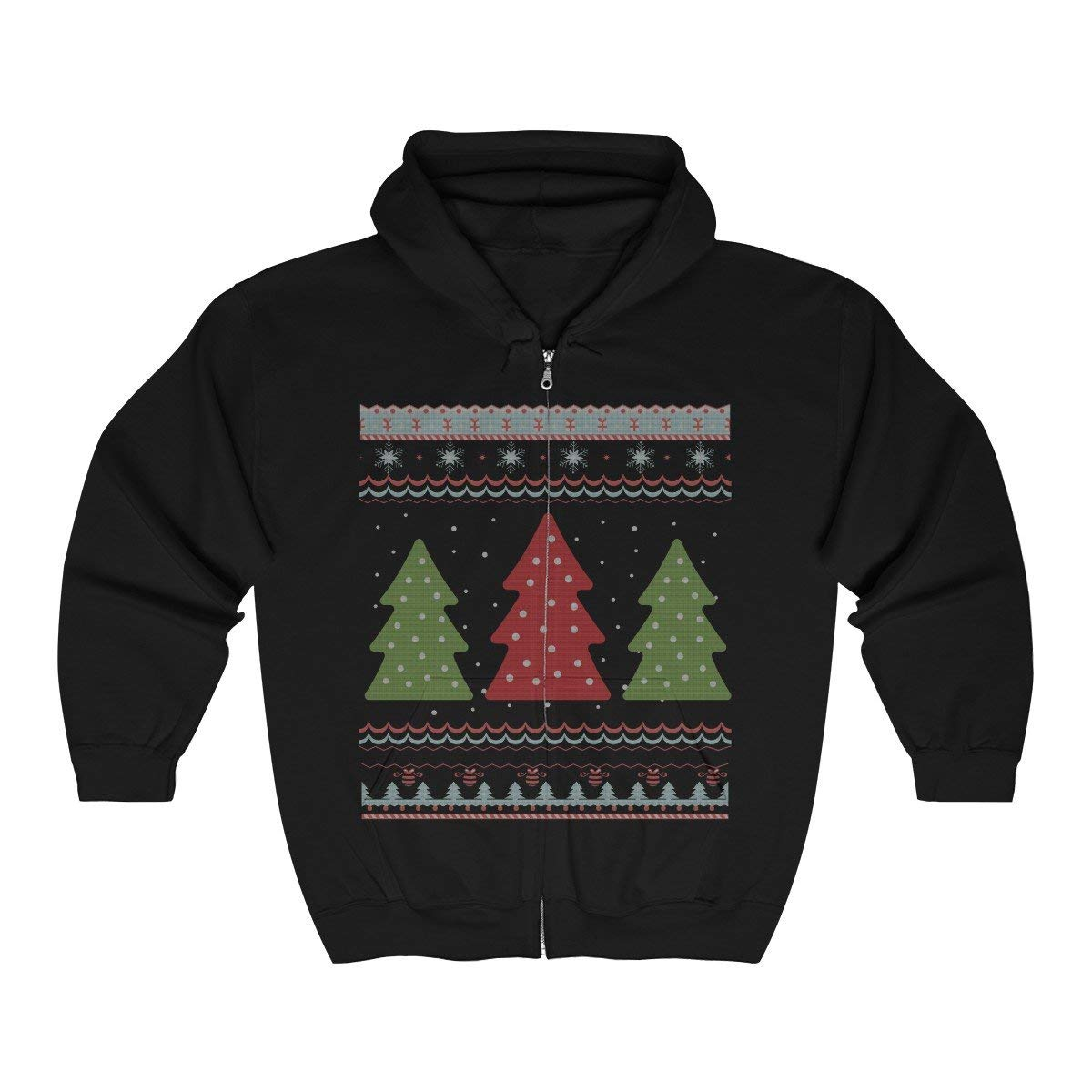 Doryti Tree Christmas Zip Hooded Sweatshirt