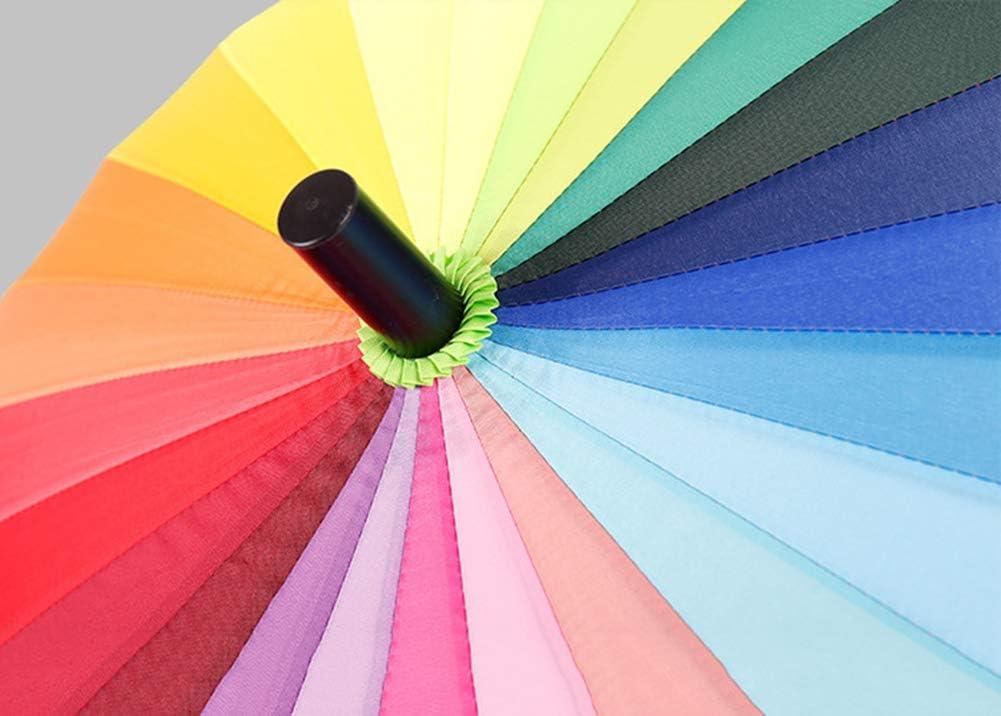 Couleur Arc-en-Ciel Unisexe 24 c/ôtes Tissu de Grande qualit/é r/ésistant aux Chocs JFSKD Parapluie Long