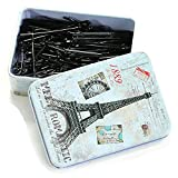 Young & Forever Girl's Valentine Black Silver Plated Bobby Pins With Utility Jewelry Box