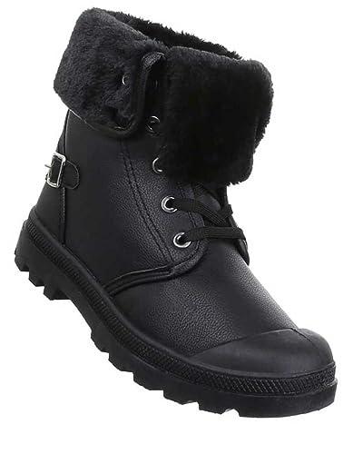 68bedbccdcda Damen Stiefeletten Schuhe Warm Gefütterte Boots Schwarz 38  Amazon ...