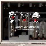Nbljfウォールステッカークリスマススノーマンリムーバブルホームビニールウィンドウクリスマスステッカーデカールホームインテリア45x60cm