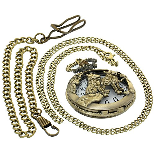 Retro Bronze Dog Wolf Holow Quartz Pocket Watch Women Mens Cool Pendant Clock Classic Pocket Watches with 1 PC Necklace Chain 1 PC Clip Key Rib Chain Japan Quartz Analog Fob Watches (Necklace Clock Antique)