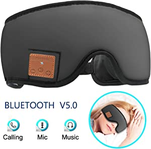 MOITA Sleep Headphones Bluetooth Sleep Mask, Bluetooth Sleep Eye Mask with Built-in Sponge Speakers, Wireless Sleep Mask Headphones for Sleeping, Napping, Travelling, Yoga