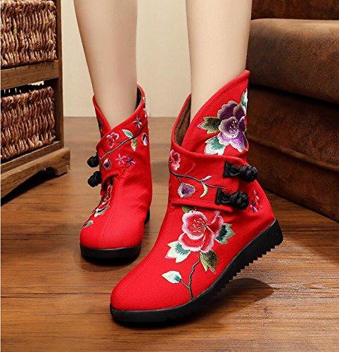 Und Stiefel Stiefel Der Stiefel In Röhre KHSKX Folk gules Die Die Stiefel Stiefel Schuhe Flache Stickerei Schuh Z71I7q8Av