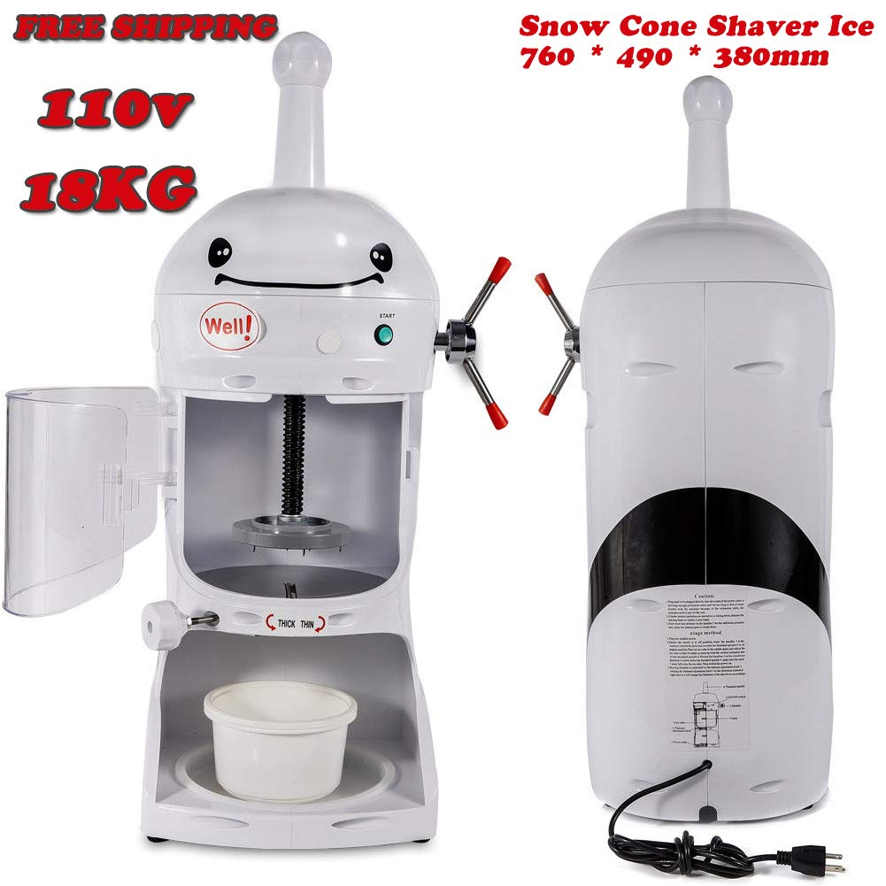 Shaved Ice Machines, 18KG 110V Commercial Snow Ice Block Shaving Machine Ice Crusher Shaved Ice Machine Snow Cone Machine Electric Shaved Ice Machine Snow Cone Shaver Ice 760 * 490 * 380mm, US STOCK by Feiuruhf (Image #4)
