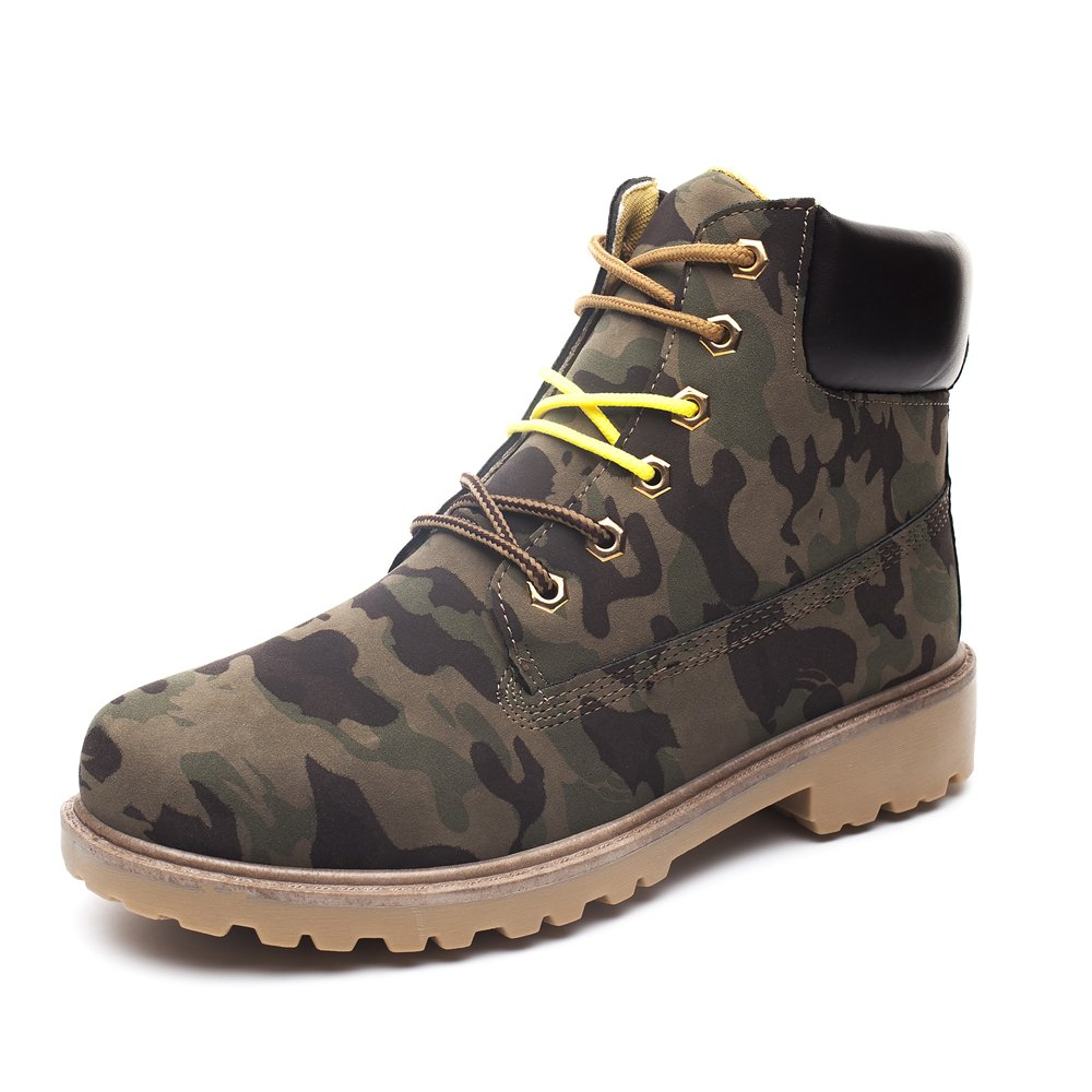 DRKA Men's Water Resistant Work Boots Comfortable Leather Plain Rubber Sole Industrial Construction Shoes for Male(17926-Camo-45)