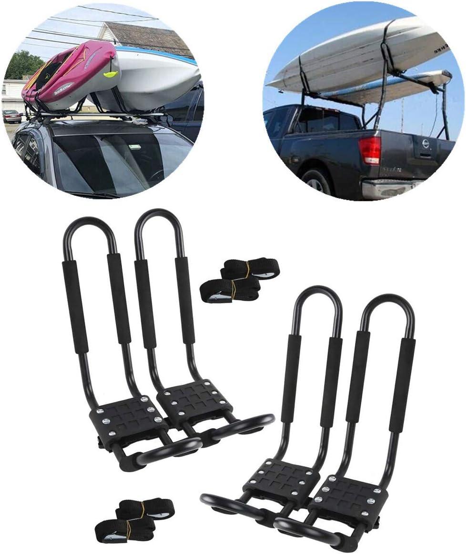 2 Pairs Kayak Carrier Boat Ski Surf Snowboard Roof Mount Car Cross J-Bar Rack