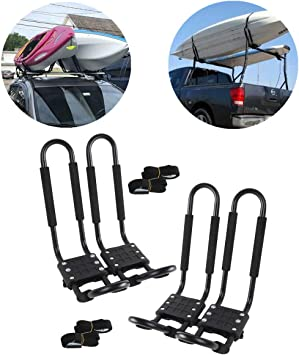 Surfboard 2 Pairs Kayak Roof Rack,Aluminum J-Bar Kayak Carrier for Canoe Ski SUP,SUV Folding Canoe Kayak J Racks for Roof Rack