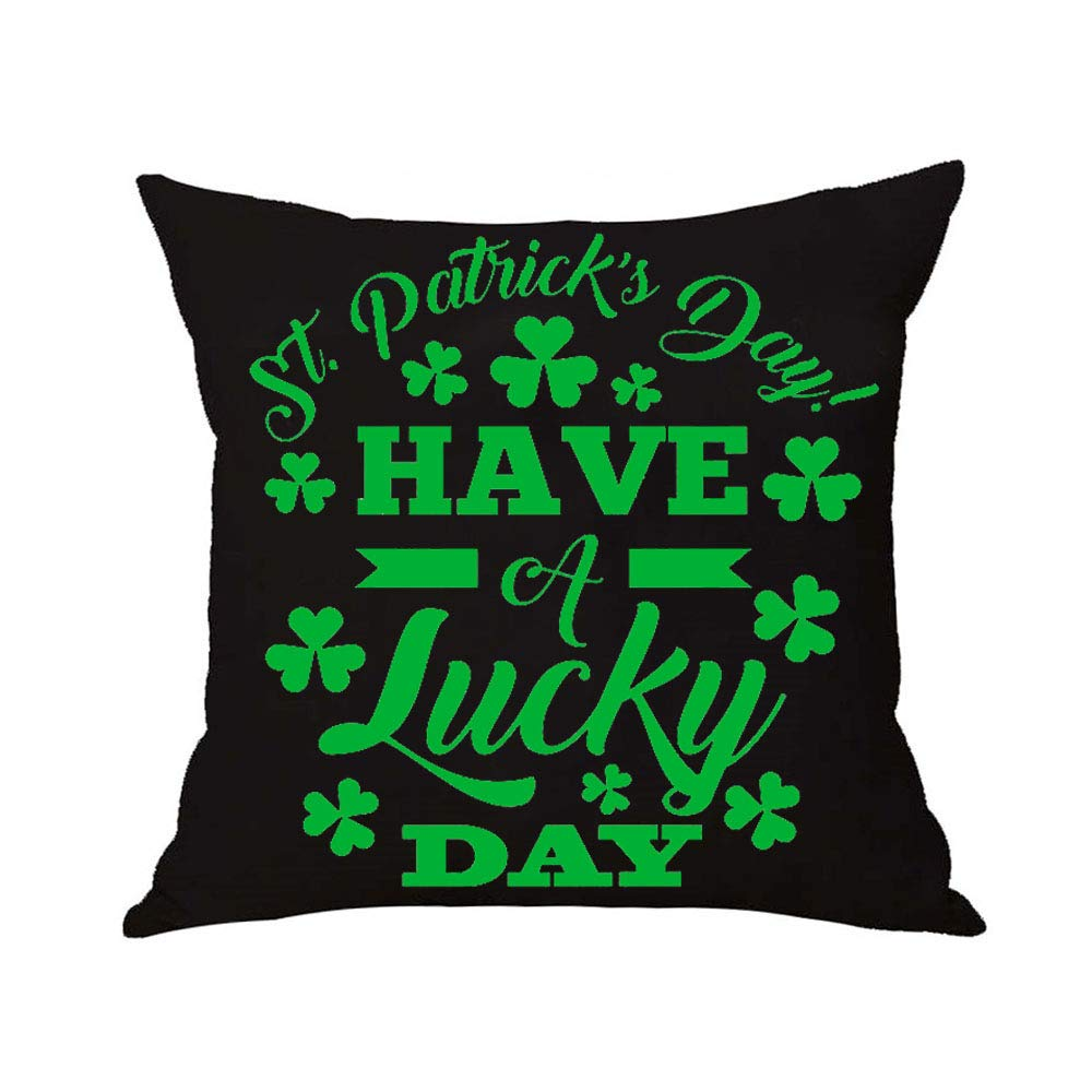 Patricks Day Shamrock Throw Pillow Cover /… 4 HSS Cotton Linen Square Decoration Home Sofa car Throw Pillow case Cushion Cover 18 X18 Happy St