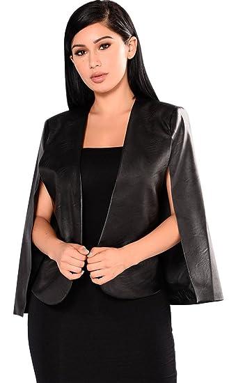 193ba24cda23 Sexy Cloak Poncho Cape Style Fendue Fente Open Devant Manches Longues PU  Cuir Faux Boutonnée Boutonnéless