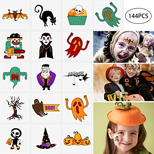 144PCS Assorted Halloween Temporary Tattoos Party Favors - Goody Bags Fillers Kids Trick Or Treat - Pumpkin/Skull/Ghost/Monster Supplies