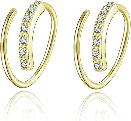 White pearls and chain half hoop earrings gold plated 925 silver.