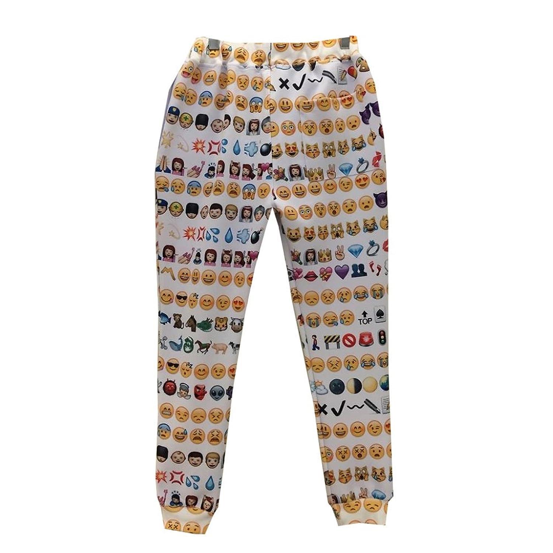 Women's 3D 1991 Emoji Sweatpants Joggers Pants White