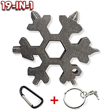 19 In 1 Stainless Tool Multi Tool Portable Snowflake Shape KeyChain Screwdriver