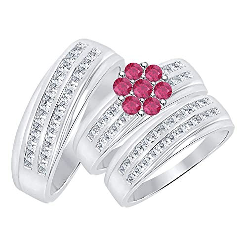 Ruby Halo Engagement Wedding Ring 14K White Gold Over Sterling Silver 925