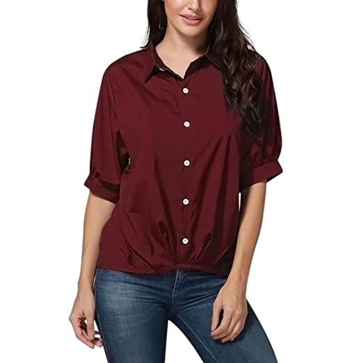 Verano Camisetas De Mujer 💝 Yesmile Blusas de Manga Larga Con Botones En Las Mujeres Blusa