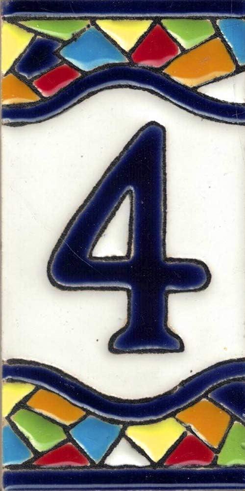 TORO DEL ORO Numeri civici e lettere in piastrelle Nomi e direzioni dipinti a mano tecnica corda secca Ceramica smaltata Numero Quattro4 Design Mosaico medio 5,5 x 10,5 cm