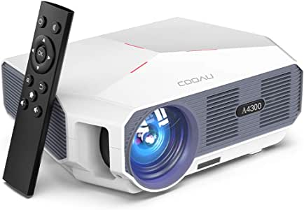 Projector, COOAU 5500 Lumens Outdoor Movie Projectors, Support 1080P Playing, Zoom Function and Sync Smartphone Screen, Compatible with TV Stick/Laptop/DVD Player/PS4