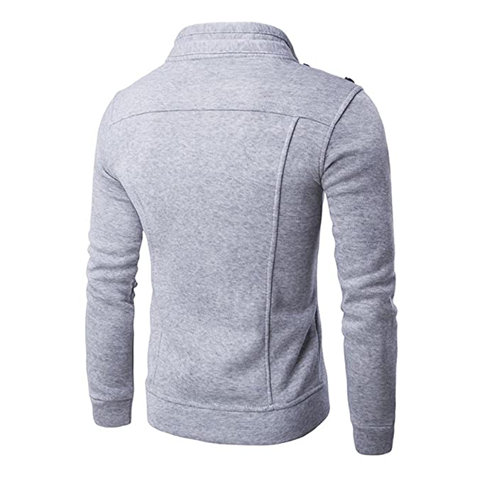 Yiwa New Mens Personality Collar Folds Button Zipper Design Sweater Coat at Amazon Mens Clothing store: